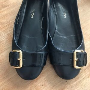 Louis Vuitton Black Flats with Gold Buckle